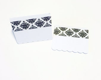 12 Mini Note Cards Black and White Washi Tape