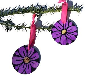 Purple Flower Ornaments - Handmade Wood Ornament Set for Christmas tree, purple and black daisy, mixed media decor, xmas holiday decoration