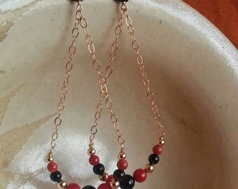 Coral, Onyx and Agate Gem Gold Dangle Earrings - Free Shipping