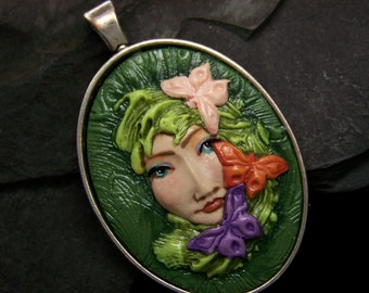 Butterfly Lady Cameo Pendant Handmade, OOAK Polymer Clay Cameo Jewelry by sculptedwindows