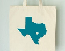 TEXAS LOVE eco TOTE Austin Turquoise state silhouette with heart on natural bag