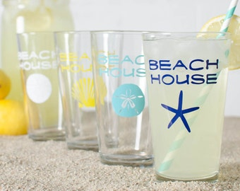 BEACH HOUSE - 4 PINT glasses screen printed in turquoise, white, navy blue, yellow