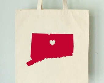 SALE Connecticut LOVE Tote Hartford RED state silhouette with heart on natural bag