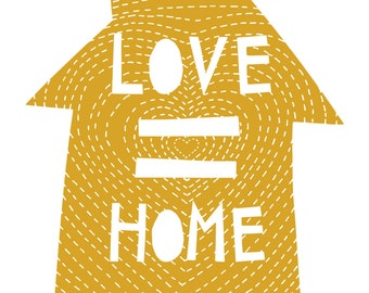love = home art print . personalized art print, marriage equality, love is love, home sweet home, housewarming, gifts for couples, cozyblue
