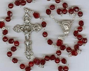 July Birthstone Rosary ~ Ruby Glass