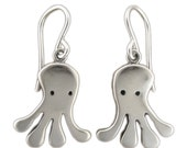 Sterling Silver Octopus Earrings - Silver Quadrapus Earrings