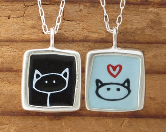 Black Cat Necklace - Love Kitty Necklace - Reversible Sterling Silver and Vitreous Enamel Cat Pendant
