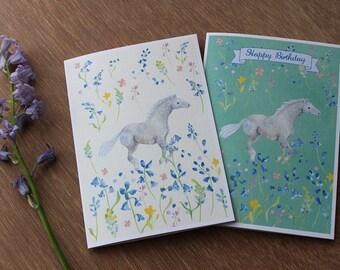 Through the Bluebells - Notecard, Birthday Card - Horse Art