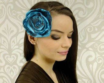 ON SALE, Boho Headband, Flower Headband, Flower Hair Sash, Boho Accessory, Ocean Blue Flower Hair Sash, Brown Lace, Shabby Chic