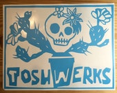Day of the Dead skull and Cactus ToshWerks vinyl sticker decal car window sticker.