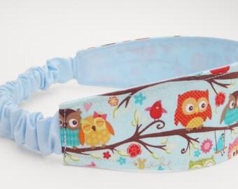 Owl Headband, Child Head Band, Blue Head Band, Colorful Fabric, Baby Birds, Reversible Wrap, Wide Hair Accessory, No Plastic Headband