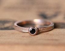 Black spinel ring, rose gold stack ring, rose gold gemstone ring, black gemstone ring, braided Wheat ring, artisan ring ready to ship size 7