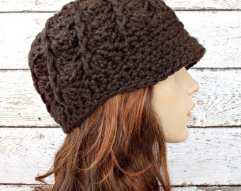Crochet Hat Womens Hat Brown Newsboy Hat - Pippa Swirl Beanie in Coffee Brown Crochet Hat - Brown Hat Brown Beanie Womens Accessories