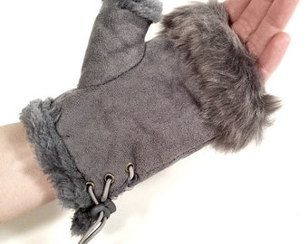 Women's Faux Fur Suede Fingerless Gloves Mittens - Gray