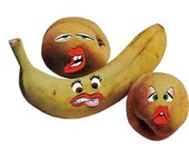 Original Art Collage on Paper Funny Decor for Kitchen Fruity Artwork Anthropomorphic Fruit Funny Face Funky Art