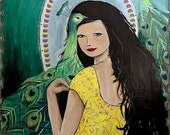 MOVING SALE Contemporary acrylic portrait of a woman with peacocks and an art nouveau inspired border
