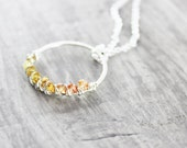 Orange Sapphire Necklace, Sterling Silver Necklace, Wire Wrap Necklace, Large Pendant Necklace, Sapphire Gemstone Necklace, Round Pendant
