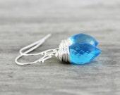 Light Blue Earrings, Sterling Silver Earrings, Wire Wrap Earrings, Small Dangle Earrings, Sky Blue Earrings, Blue Gemstone Earrings