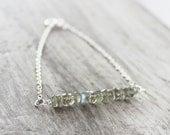 Labradorite Gemstone Bracelet, Sterling Silver Bracelet, Silver Chain Bracelet, Gemstone Bar Bracelet, Grey Bracelet, Gray Bracelet