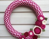 Spring Wreath - Magenta Chevron Fabric Wreath Decorated w/ Felt Flowers. Valentine Wreath - Fall Wreath -Mother's Day Wreath -Spring Wreath