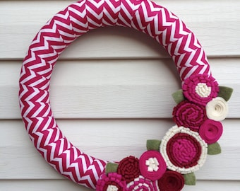 Valentines Day Wreath - Chevron Wreath - Magenta Wreath - Felt Flower Wreath - Valentine Wreath - Mother's Day Wreath - Spring Wreath