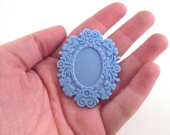 Periwinkle blue resin frame cabochon, vintage style resin cab settings (holds an 18x25mm cab)