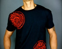 One of a kind woodblock print Mens Feathered Serpent 100% Cotton T Shirt
