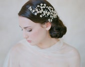 Bridal flower and branch hair piece - Opal flower branch headpiece - Style 505 - Ready to Ship