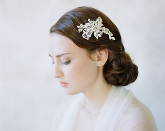 Bridal crystal jeweled hairclip, light gold - Metal and lace crystal clip - Style 529 - Ready to Ship