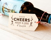 Wedding Favor Tags - Handmade Gift Tags - Beer or Coffee Favor - CHEERS with your Name and Date  - Pack of 25
