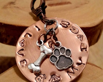 Puppies Love Dogs Mama Dog Daddy hand stamped copper charm key fob keychain accessory great for multiple dog parents