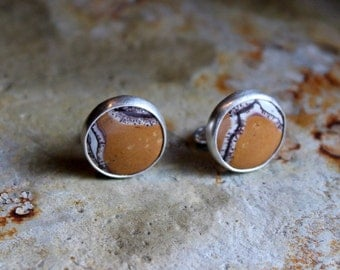 White, Chocolate Brown & Tan Stone Sterling Silver Cuff Links- French Cuffs, Mens Fashion