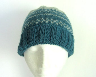 Men or Women Hand Knit Wool Hat - Teal and Seafoam Green in Roll or Ribbing Edge
