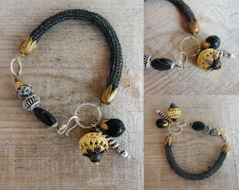 Oxidized Sterling Silver Bracelets - Sterling Silver Kazaziye Handwoven Bohemian Bracelets