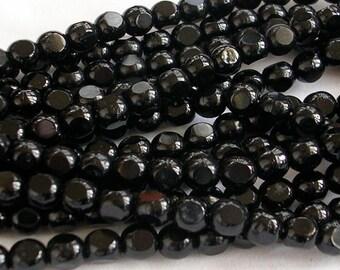 Czech Glass Beads CLOSEOUT SALE (GB144) 25 English Cut Jet Black 6mm