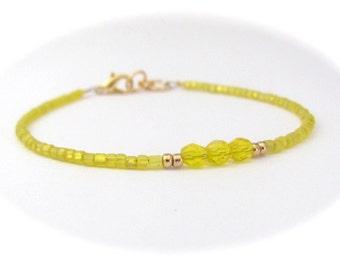 Yellow Bracelet, Seed Bead Bracelet, Friendship Bracelet, Bridesmaid Gift, Minimal Bracelet, Summer Jewelry, Beach Resort, Hawaiian Jewelry