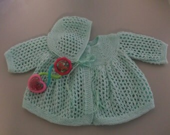 Hand Knit Vintage Style Baby Matinee Coat and Hat Baby Sweater Set