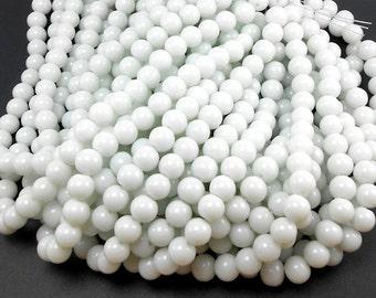 38 White Glass Beads 8MM round beads (H1770)