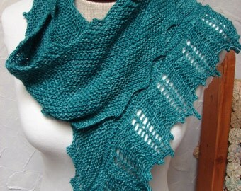 Pattern for Scarf, Wrap, Shawl, Zig Zag pattern, asymmetrical, Lace, Garter Stitch, Knit, Handknit Scarf Pattern