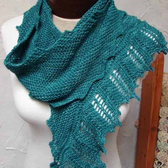 Lace Zig Zag Scarf Knitting Pattern : Pattern for scarf wrap shawl zig zag asymmetrical lace garter stitch knit