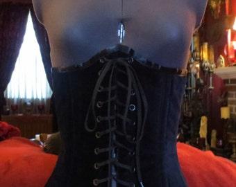 Black Velvet Corset Lace Front Underbust Size 23 Gothic Steampunk