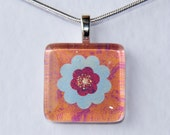 Handmade Glass Tile Blue, Pink & Orange Flower Pendant