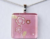 Handmade Glass Tile Pink Blossoms Pendant