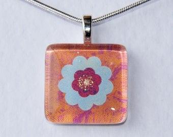 Handmade Glass Tile Blue, Pink & Orange Flower Pendant
