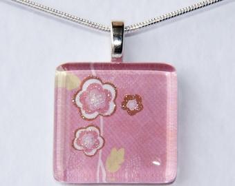 Handmade Glass Tile Pink Blossoms Pendant