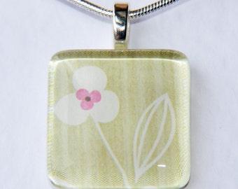 Handmade Glass Tile Green, White & Pink Flower Pendant