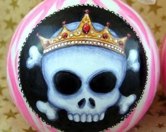 Pink Zebra Skull Ornament-Girl Skull Ornament-Candy Stripe Skullz-Drama Queen Skull Ornament-Skull Christmas Ornament