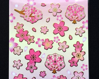 Japanese Stickers - Cherry Blossom Stickers - Sakura Stickers - Flower Stickers - Pink Stickers S195