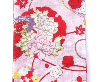 Japanese Tenugui Cotton Gauze Fabric  Traditional Japanese  - Plum Blossoms Fabric - Floral Fabric 35 x 87 cm Pink T4