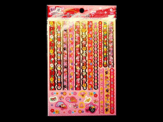 Traditional Japanese Stickers - Plum Blossom Stickers- Fan Stickers - Chiyogami Stickers - Sticker Strips  (S40)